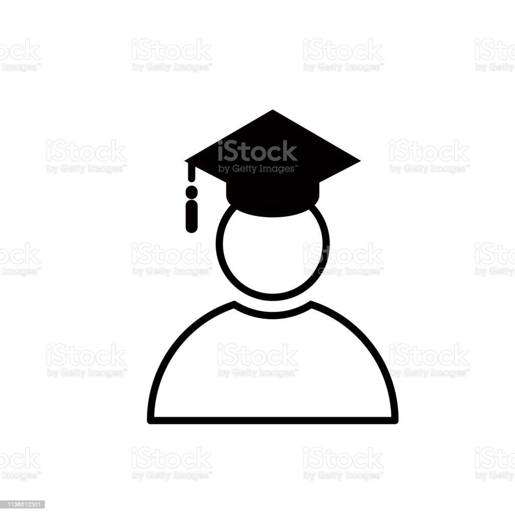 Education knowledge learning study abroad international Ideas. People sign flat icon vector with graduation celebrating cap, llustration isolated for graphic amd back to school concept