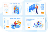 Education landing pages with isometric vector illustrations set