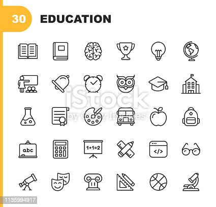 30 Education & Learning Line Icons.