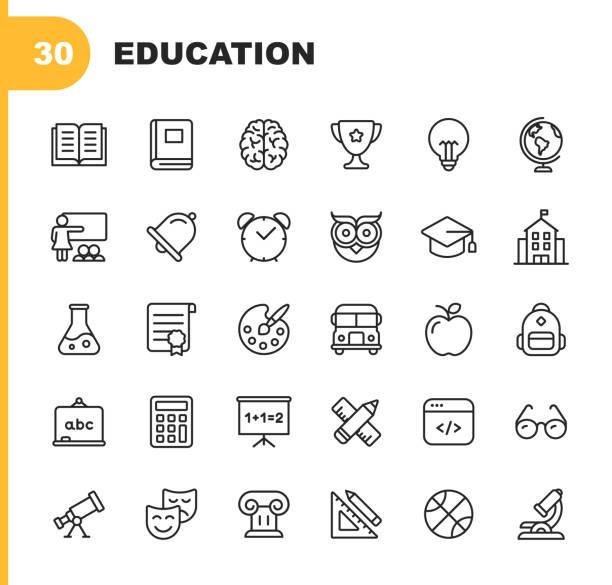 illustrazioni stock, clip art, cartoni animati e icone di tendenza di icone della linea education & learning. tratto modificabile. pixel perfetto. per dispositivi mobili e web. contiene icone quali . - scuola