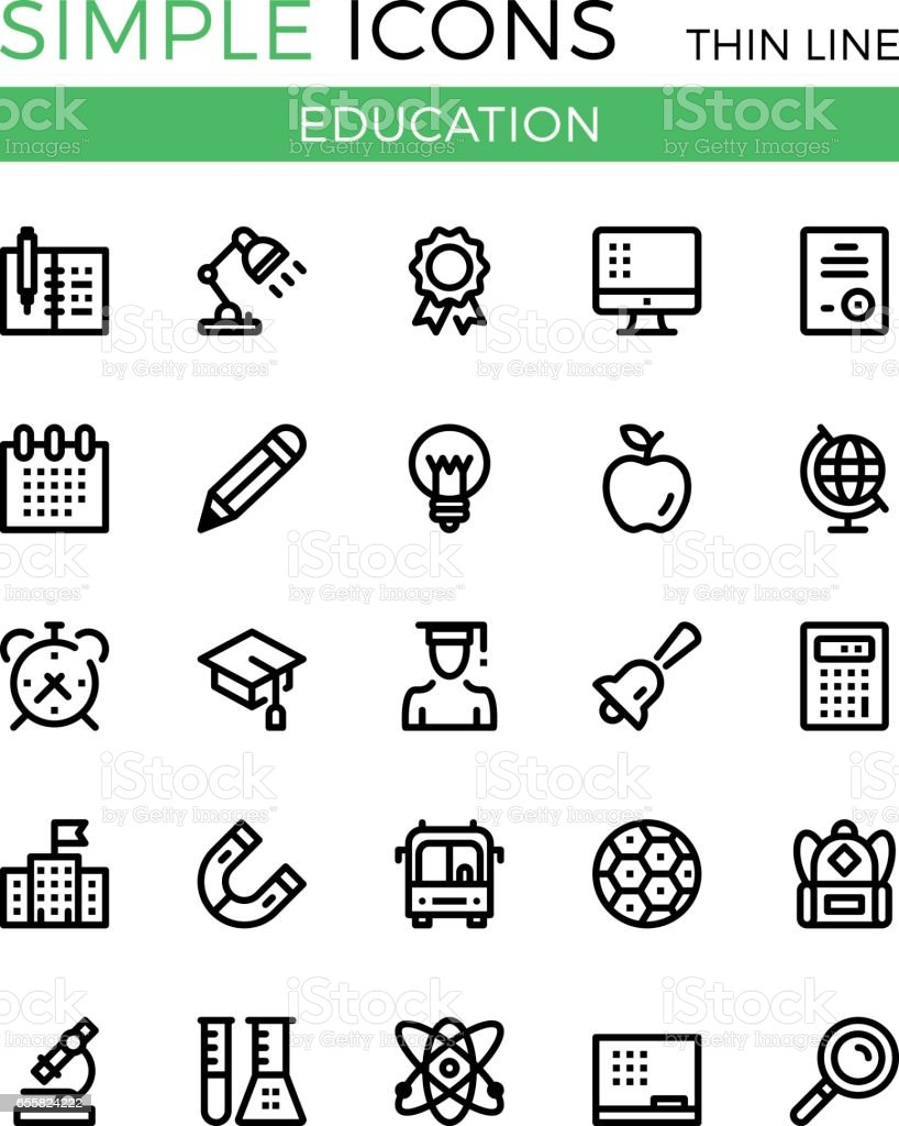 Education, learning, school vector thin line icons set. 32x32 px. Modern line graphic design linear concepts for websites, web design, etc. Pixel perfect vector outline icons set vector art illustration