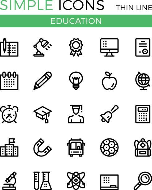 ilustrações, clipart, desenhos animados e ícones de educação, aprendizagem, escola vetor ícones de linha fina de conjunto. 32x32 px. conceitos linear de linha moderno design gráfico para websites, web design, etc. conjunto de ícones do pixel vector perfeito contorno - aula de ciências