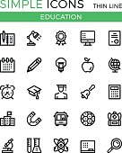 Education, learning, school vector thin line icons set. 32x32 px. Modern line graphic design linear concepts for websites, web design, etc. Pixel perfect vector outline icons set