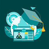 istock Education, learning, tutoring, social media online communication. The teacher on the monitor screen is tutoring online. Professors' hat and target as a symbol of goal achievement 1338659744
