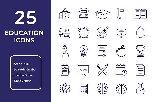 Education Line Icon Design