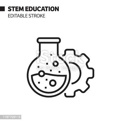 istock STEM Education Line Icon, Outline Vector Symbol Illustration. Pixel Perfect, Editable Stroke. 1197703113