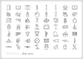 Line icons of the arts taught in school including music, ballet, writing, reading, craft, art and dance