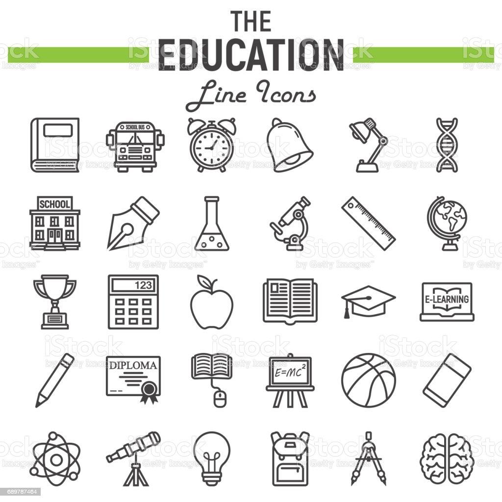 Education Line Icon Set School Symbols Collection Knowledge Vector
