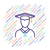 Line vector illustration of graduation.