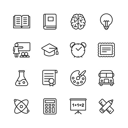 Education Line Icons. Editable Stroke. Pixel Perfect. For Mobile and Web. Contains such icons as Book, Brain, Inspiration, School Bus, Certificate.