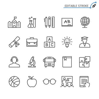 Education line icons. Editable stroke. Pixel perfect. clipart
