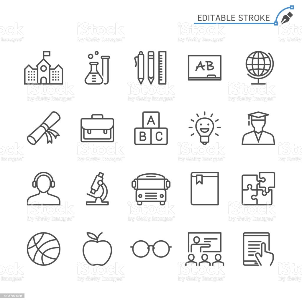 Bildung Zeile Symbole. Editierbare Schlaganfall. Pixel perfekt. – Vektorgrafik