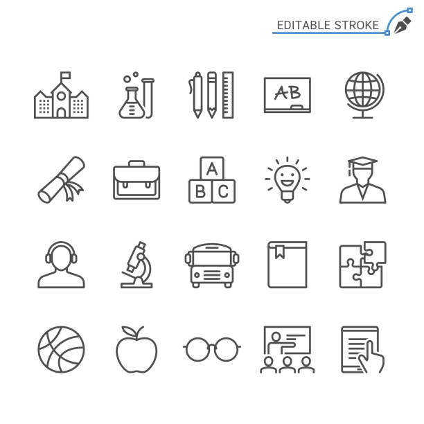 education line icons. editable stroke. pixel perfect. - school stock illustrations