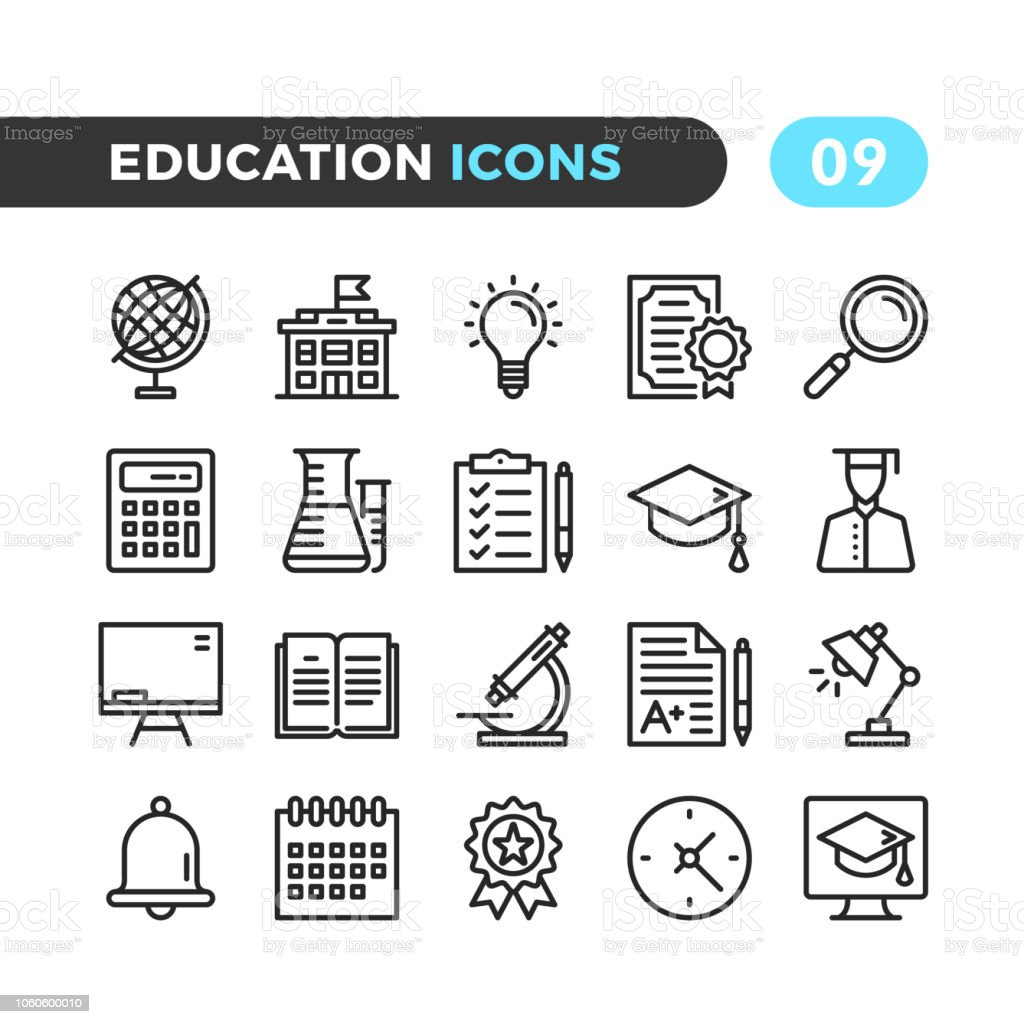 Education line icons. Outline symbols collection. Modern stroke, linear elements. Premium quality. Pixel perfect. Vector thin line icons set royalty-free education line icons outline symbols collection modern stroke linear elements premium quality pixel perfect vector thin line icons set stock illustration - download image now