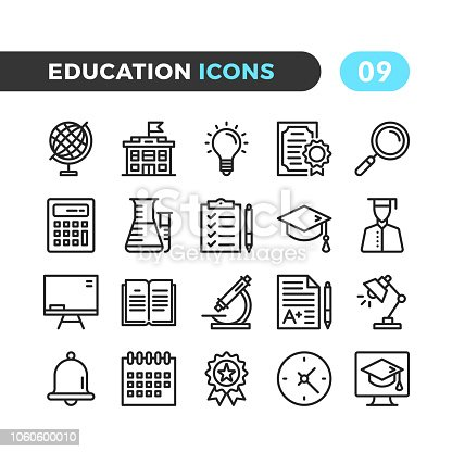 Education line icons. Outline symbols collection. Modern stroke, linear elements. Premium quality. Pixel perfect. Vector thin line icons set