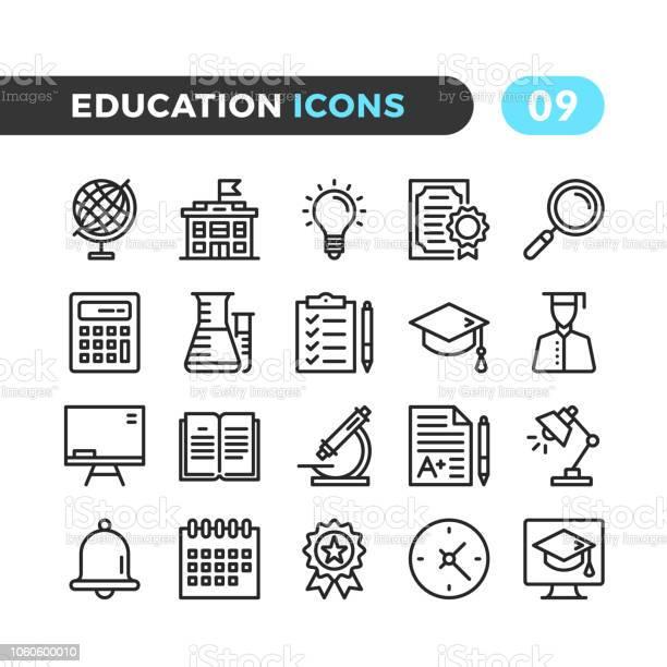 Education line icons outline symbols collection modern stroke linear vector id1060600010?b=1&k=6&m=1060600010&s=612x612&h=a0ifcd2jvqktldf7 uysr42ljk3nk4jaizybqj8cn i=