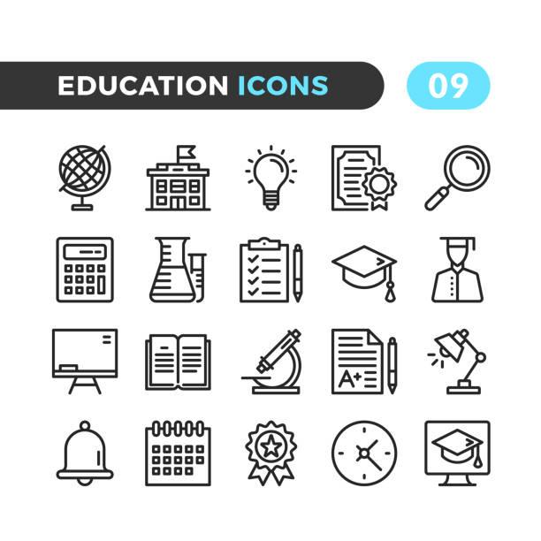 illustrazioni stock, clip art, cartoni animati e icone di tendenza di icone delle linee di formazione. raccolta di simboli di contorno. tratto moderno, elementi lineari. qualità premium. pixel perfetto. set di icone vettoriali a linee sottili - scuola