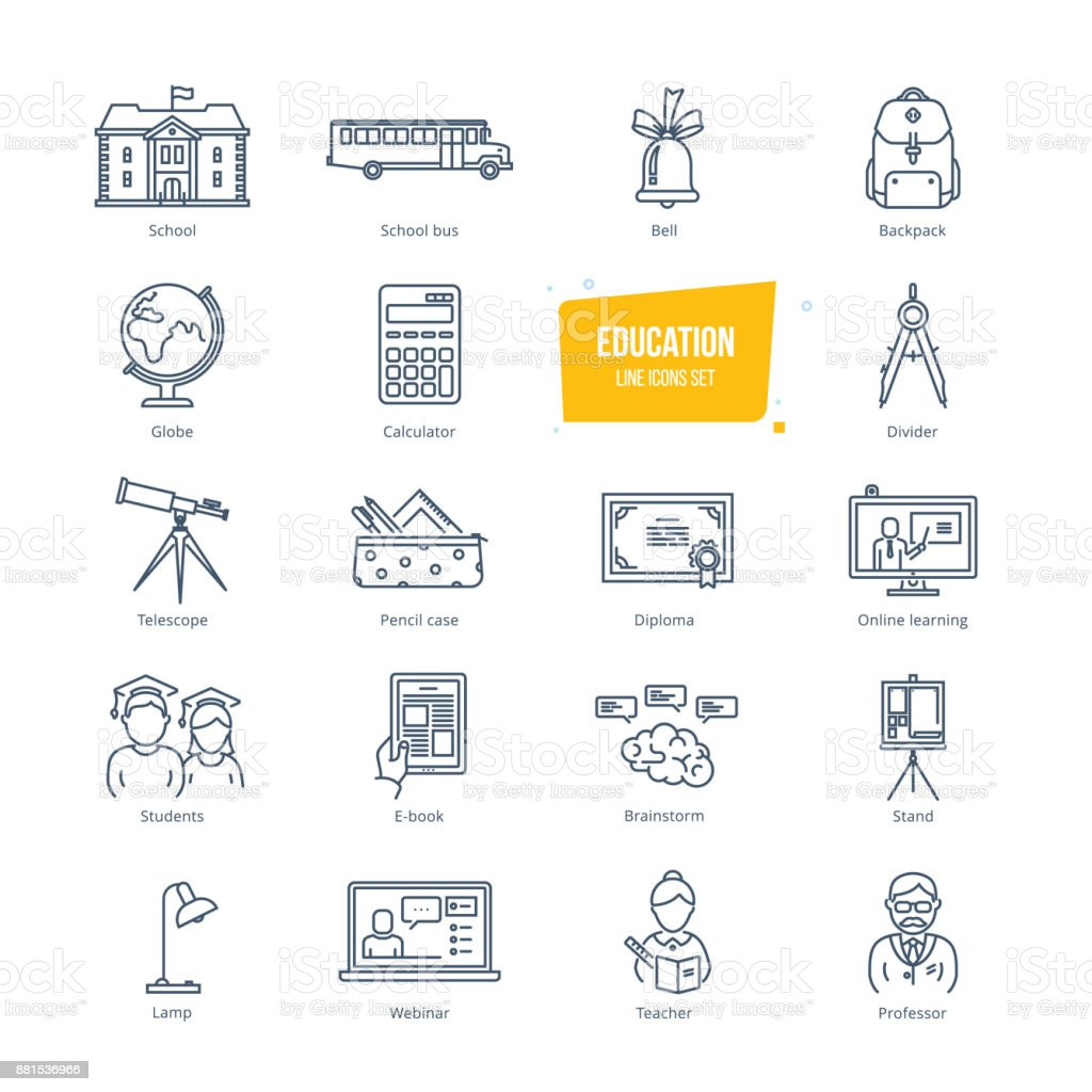 Education line icons set. Icons for online education and learning vector art illustration