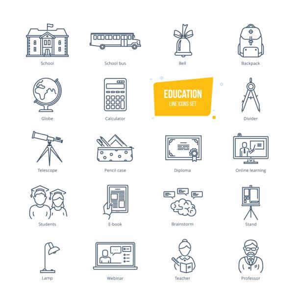 illustrations, cliparts, dessins animés et icônes de l'éducation ligne icônes définies. icônes pour l'éducation en ligne et d'apprentissage - professeur d'université