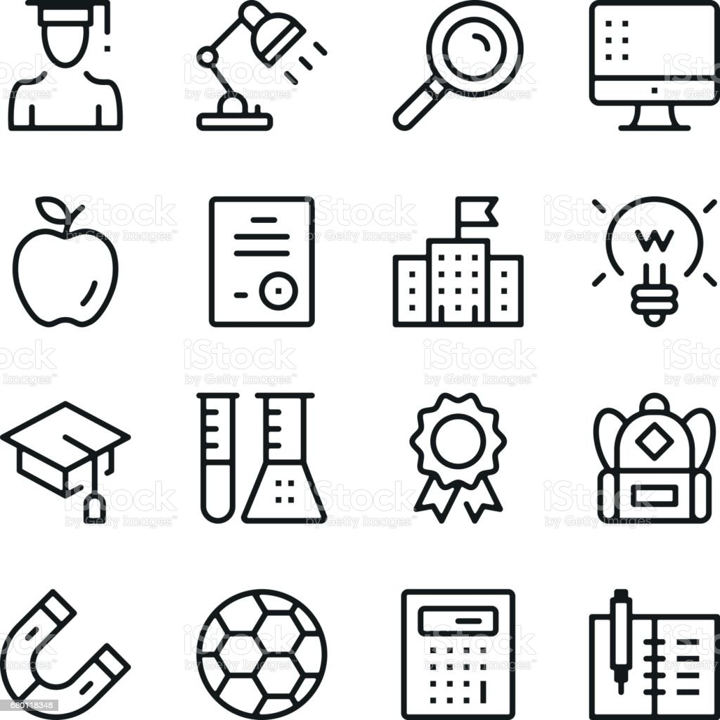Education line icons set. Modern graphic design concepts, simple outline elements collection. Vector line icons vector art illustration