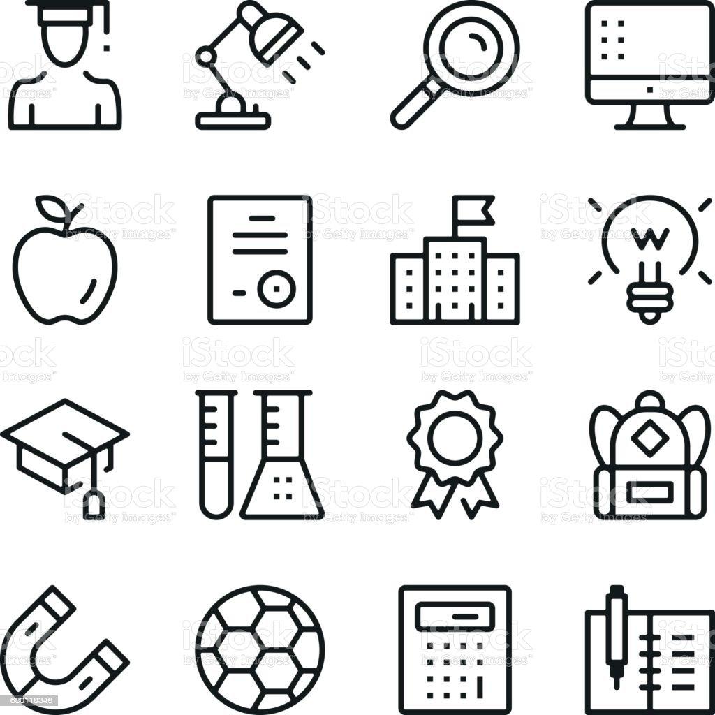 教育ラインのアイコンを設定します。現代のグラフィック デザインの概念、単純なアウトライン要素のコレクション。ベクター線のアイコン ベクターアートイラスト