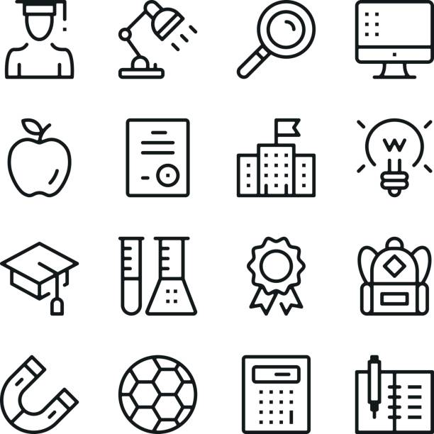 Education line icons set. Modern graphic design concepts, simple outline elements collection. Vector line icons Education line icons set. Modern graphic design concepts, simple outline elements collection. Vector line icons campus stock illustrations