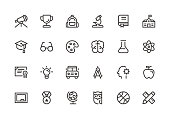 Education - Line Icons - Vector EPS 10 File, Pixel Perfect 24 Icons.