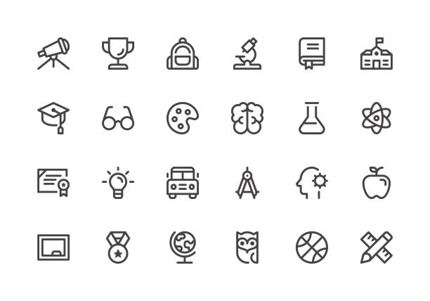education - line icons - okulary stock illustrations