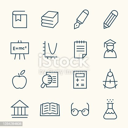 Education line vector icon set