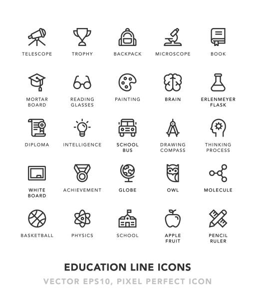 education line icons - high school sports stock illustrations