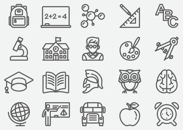education line icons - school stock illustrations