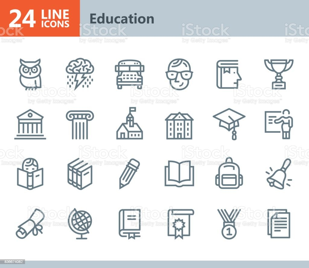 Education - line vector icons vector art illustration