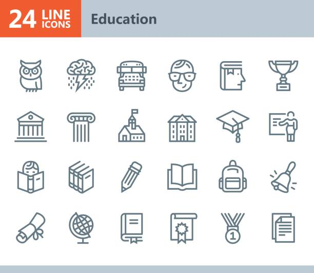 education - line vector icons - university stock illustrations, clip art, cartoons, & icons