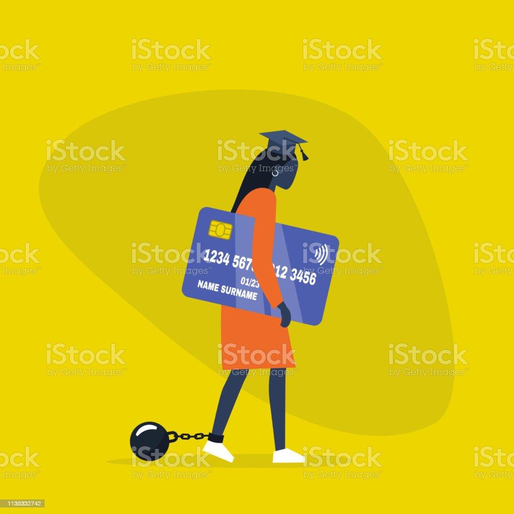 Onderwijs lening. Jonge uitgeput zwart vrouwelijk personage het dragen van een afstuderen Cap, boeien en het bezit van een creditcard. Verplichting. Schuld. Concept/platte bewerkbare vector illustratie, illustraties - Royalty-free Afhangend vectorkunst