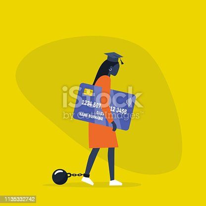 Education loan. Young exhausted black female character wearing a graduation cap, shackles and holding a credit card. Obligation. Debt. Concept/ flat editable vector illustration, clip art