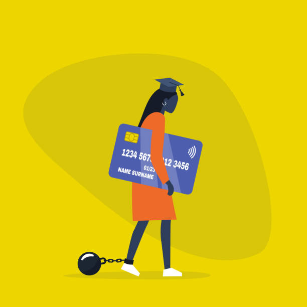 Education loan. Young exhausted black female character wearing a graduation cap, shackles and holding a credit card. Obligation. Debt. Concept/ flat editable vector illustration, clip art Education loan. Young exhausted black female character wearing a graduation cap, shackles and holding a credit card. Obligation. Debt. Concept/ flat editable vector illustration, clip art debt stock illustrations