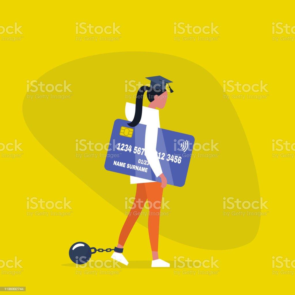 Onderwijs lening. Jong uitgeput vrouwelijk personage het dragen van een afstuderen Cap, boeien en het bezit van een creditcard. Verplichting. Schuld. Concept/platte bewerkbare vector illustratie, illustraties - Royalty-free Afhangend vectorkunst