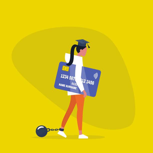 stockillustraties, clipart, cartoons en iconen met onderwijs lening. jong uitgeput vrouwelijk personage het dragen van een afstuderen cap, boeien en het bezit van een creditcard. verplichting. schuld. concept/platte bewerkbare vector illustratie, illustraties - flat cap
