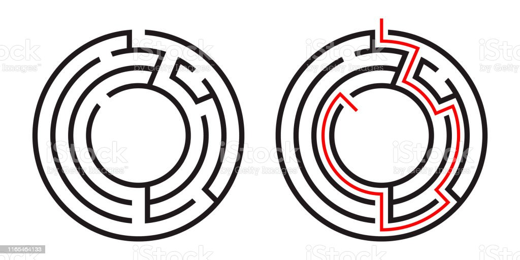 Education Logic Game Circle Labyrinth For Kids Find Right