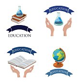 Education logo set, 4 icons,globe,books,test-tube Eps 10 Vector illustration.
