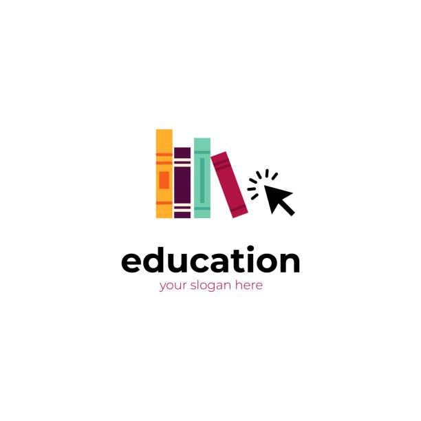 ilustrações, clipart, desenhos animados e ícones de modelo de logotipo de educação. cursos online, ensino à distância. - bibliotecas