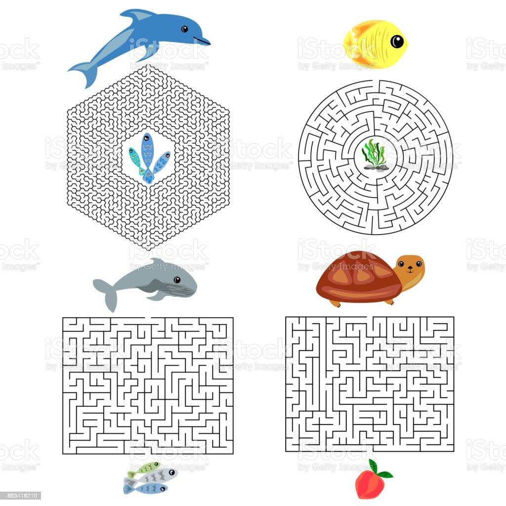 Ilustración de Educación Maze O Labyrinth Juego Para Niños Con ...