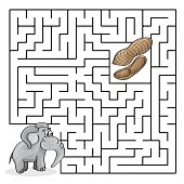 Education Maze or Labyrinth Game with Cute Elephant and Peanuts