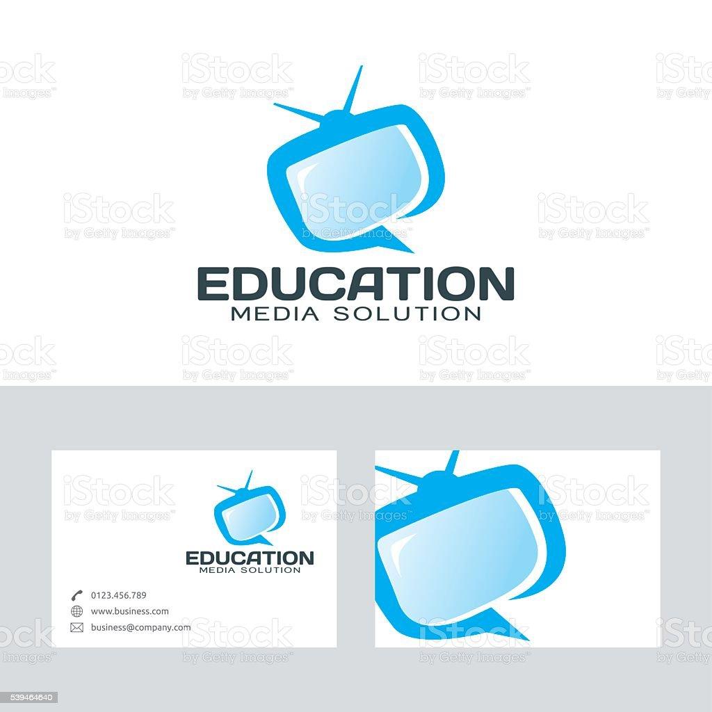 Education media vector logo with business card template vector art illustration