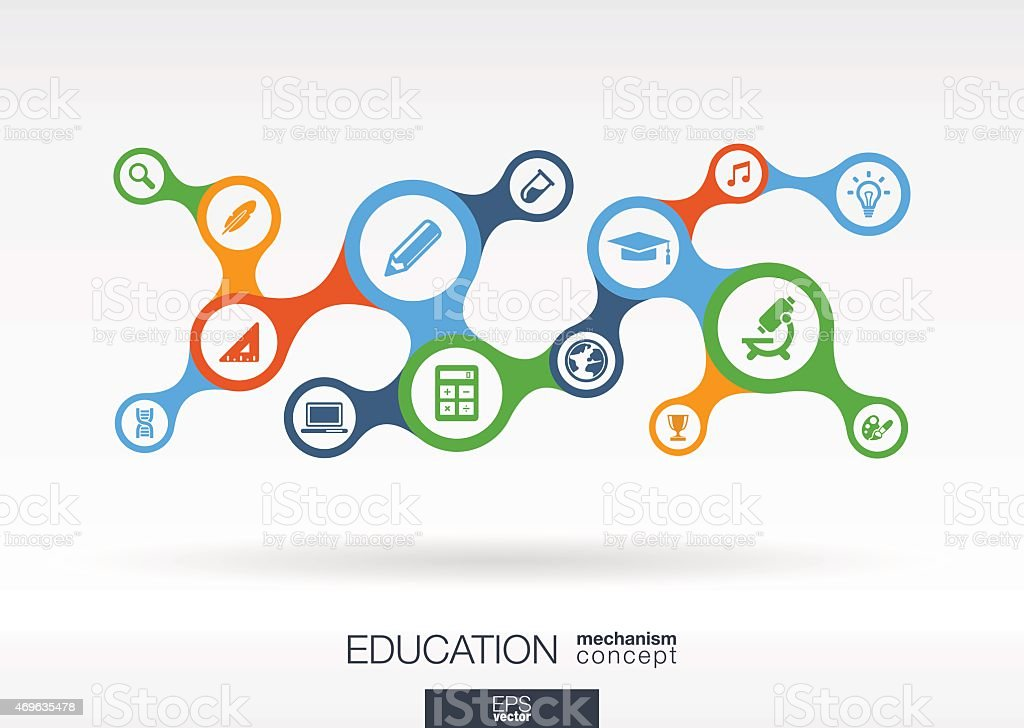 Education metaball icon set. Vector integrated analytics background illustration vector art illustration
