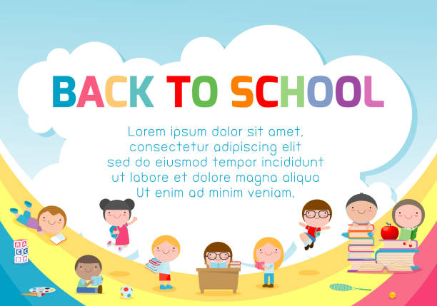 education object on back to school background, back to school, kids school, education concept, template for advertising brochure, your text ,vector illustration - przedszkole stock illustrations