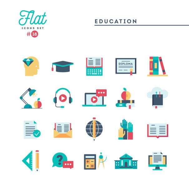 bildung, online-bücher, fernunterricht, webinars und mehr, flache symbole festlegen - flat design stock-grafiken, -clipart, -cartoons und -symbole