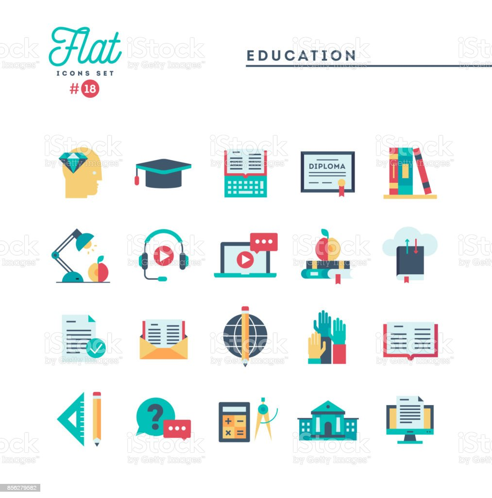 Education, online books, distance learning, webinar and more, flat icons set vector art illustration