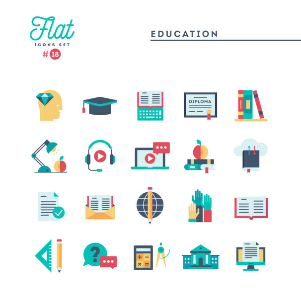 education, online books, distance learning, webinar and more, flat icons set - school stock illustrations