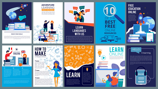 Education online covers. Posters or ads flyer template with educational concept teachers fro internet training courses vector design